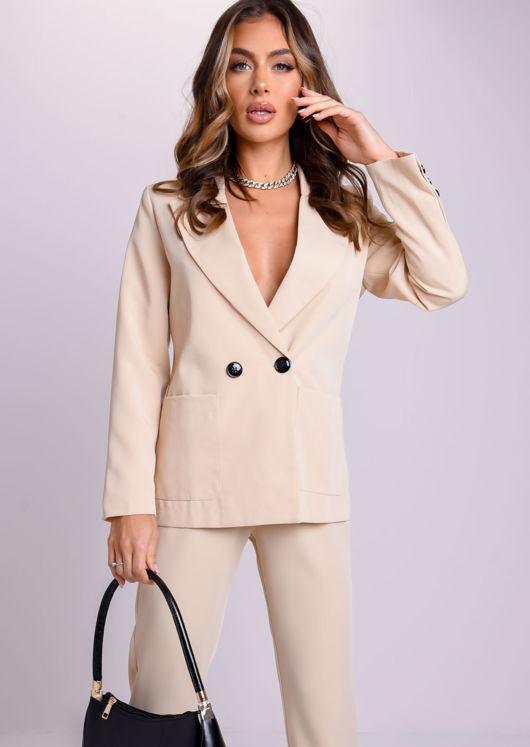 Oversized Boyfriend Boxy Blazer And Tailored Pants Co-Ord Set Beige