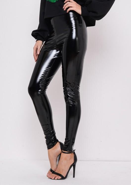 Vinyl High Waisted PU Leggings Trousers Black