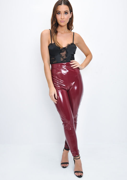 8bfcc1fb40b Vinyl High Waisted PU Leggings Trousers Burgundy Red