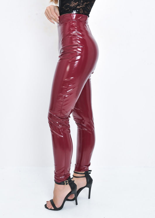 Vinyl High Waisted PU Leggings Trousers Burgundy Red