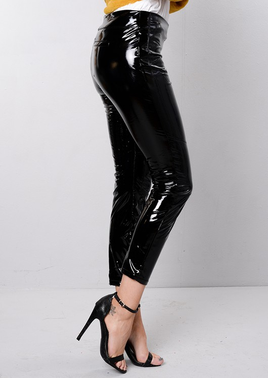 High Shine Vinyl Patent Skinny Legging Trousers Black