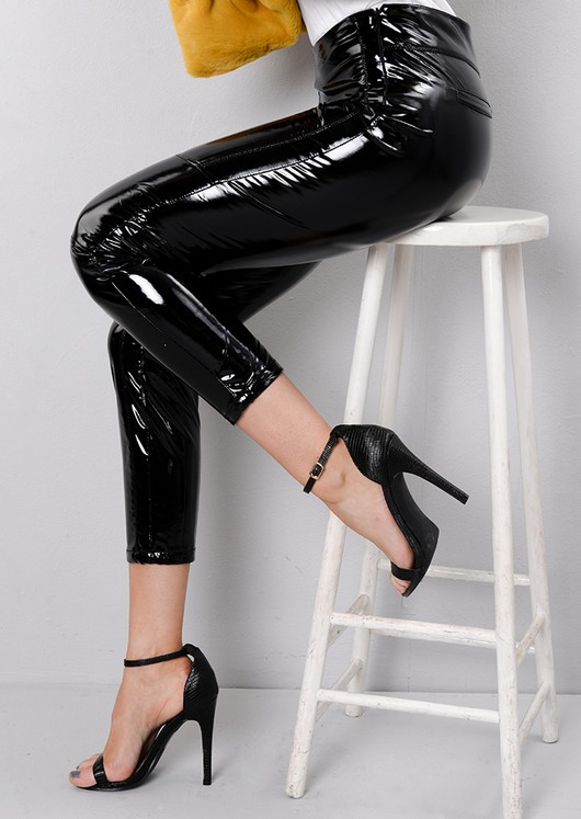 High Shine Vinyl Patent Skinny Legging Trousers Black