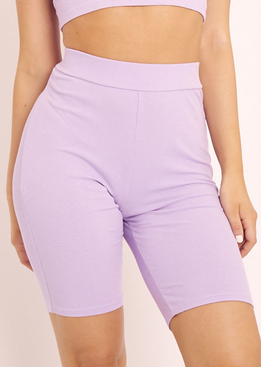 Waist High Thigh Length Elasticated Ribbed Texture Shorts Purple