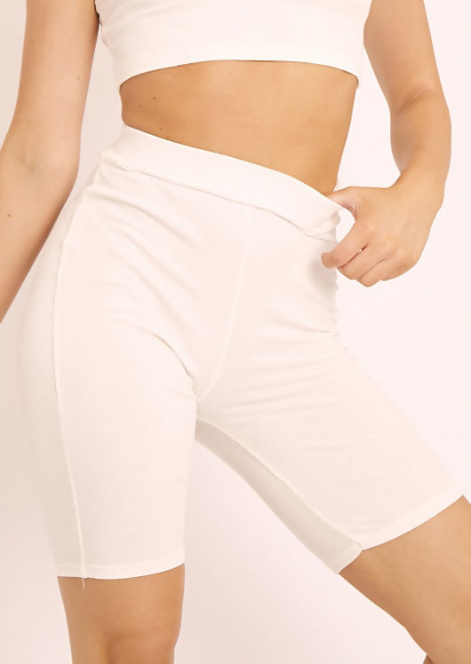 High Waist Ribbed Cycling Shorts White