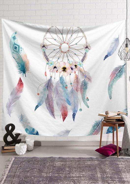 Watercolour Dreamcatcher Print Wall Hanging White