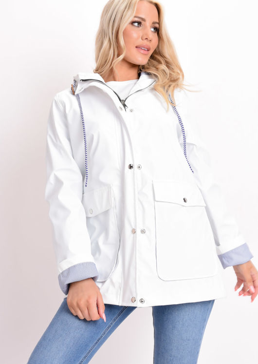 Waterproof Hooded Festival Rain Mac Coat White