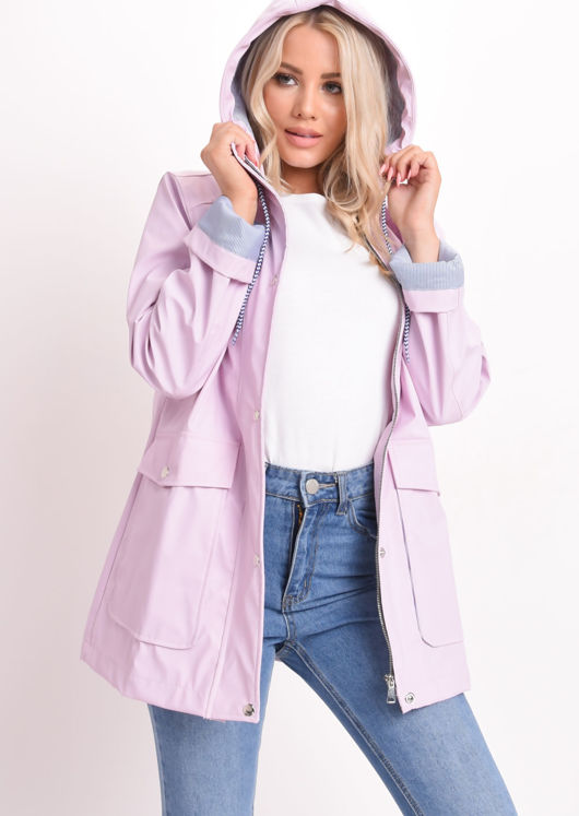 Waterproof Hooded Festival Rain Mac Coat Baby Pink