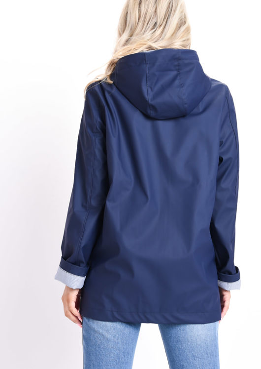 Waterproof Hooded Festival Rain Mac Coat Navy Blue