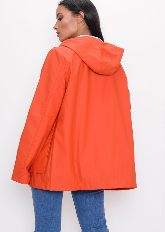 Waterproof Hooded Festival Rain Mac Coat Orange
