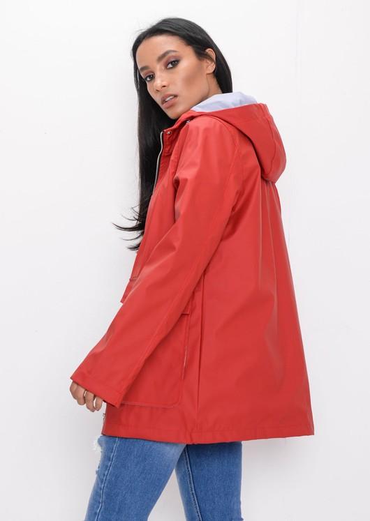 Waterproof Hooded Festival Rain Mac Coat Red