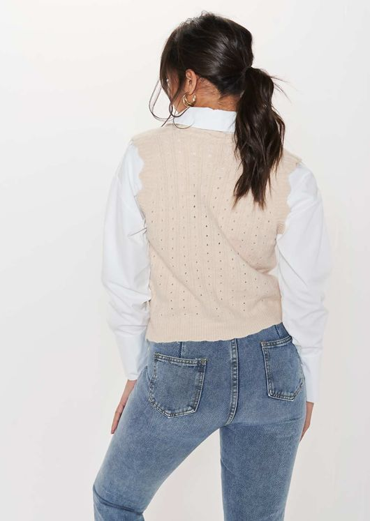 Wave Trimmed Button Down Rib Knit Sleeveless Vest Top Beige