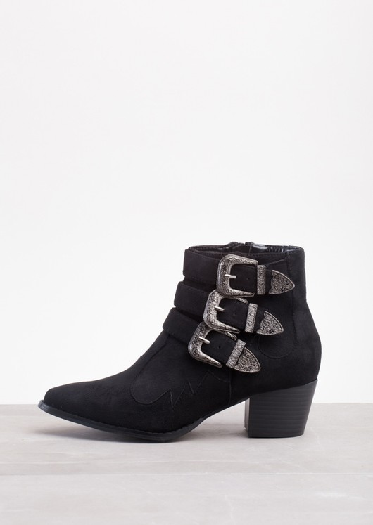 Western Cowboy Style Buckle Straps Ankle Boots Black