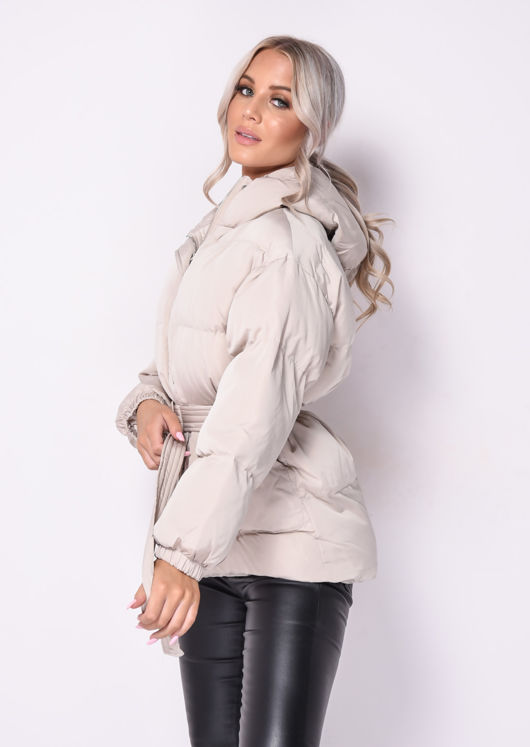 Oversized Wet Look Chunky Belted Padded Hooded Puffer Coat Beige