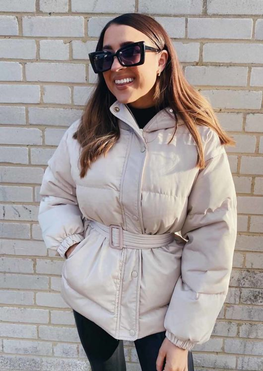 Oversized Wet Look Belted Hooded Puffer Coat Beige