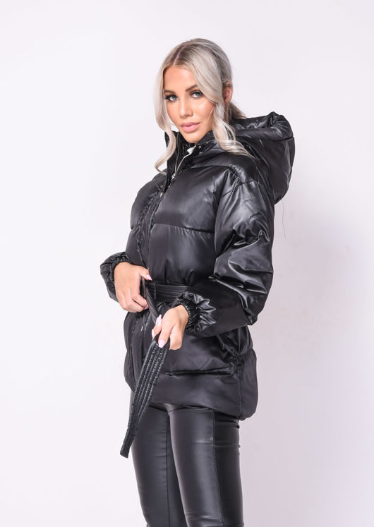 Oversized Wet Look Chunky Belted Padded Hooded Puffer Coat Black