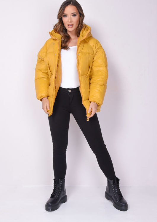 Wet Look Chunky Padded Hooded Oversized Puffer Coat Yellow