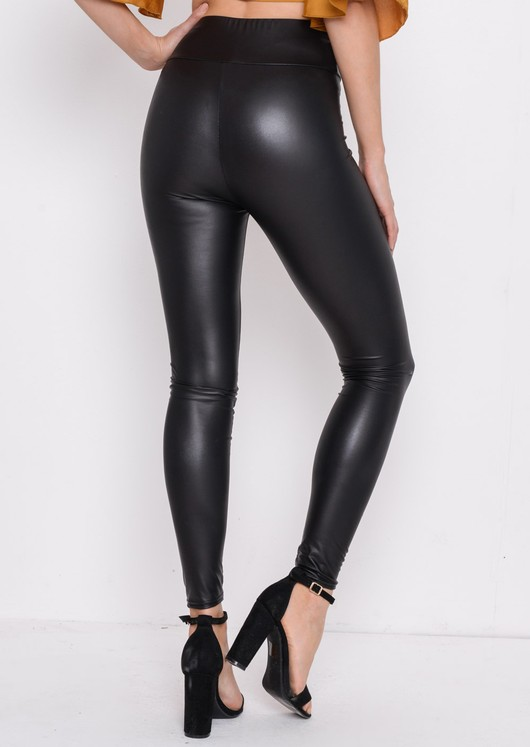 Wet Look High Waisted Leggings Black