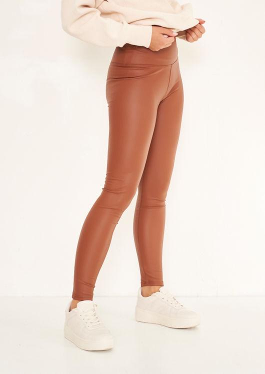 Wet Look High Waisted Leggings Brown