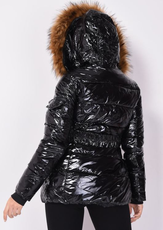 Wet Look Shinny Faux Fur Hooded Puffer Belted Coat Black