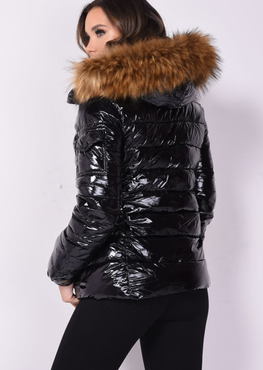 Wet look Shinny Faux Fur Hooded Puffer Coat Black