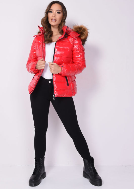 Wet look Shinny Faux Fur Hooded Puffer Coat Red