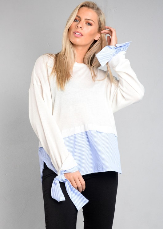 White Knitted Jumper with Blue Stripe Shirt Hem Multi