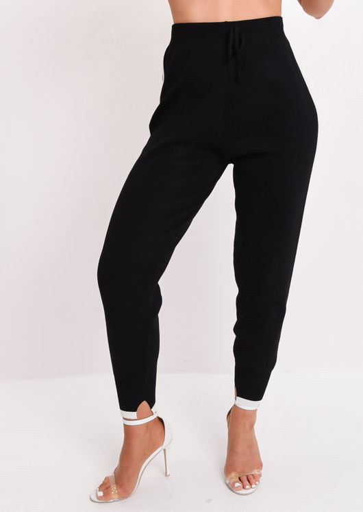 White Stripe Tracksuit Knit Loungewear Set Black