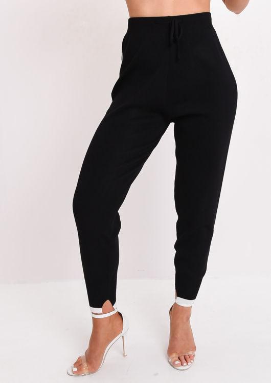 White Stripe Tracksuit Knit Loungewear Set Black
