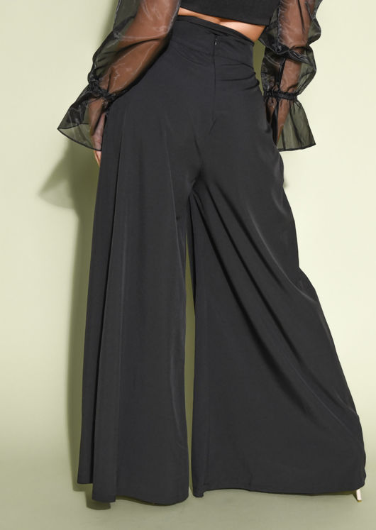 Wide Leg High Waisted Palazzo Trousers Black
