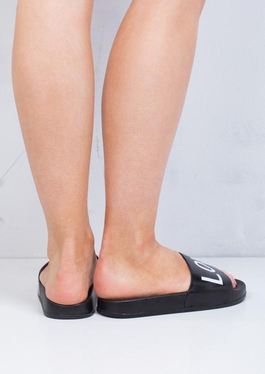 Wide Strap Love Slider Sandals Black