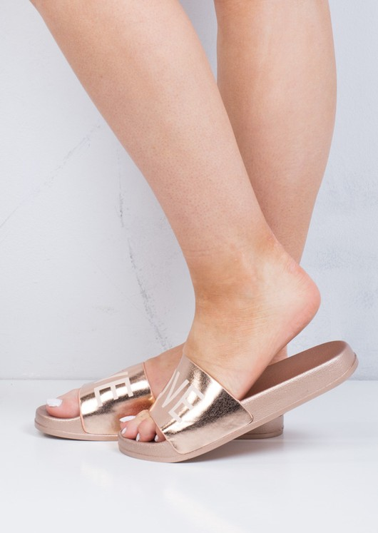 Wide Strap Love Slider Sandals Rose Gold