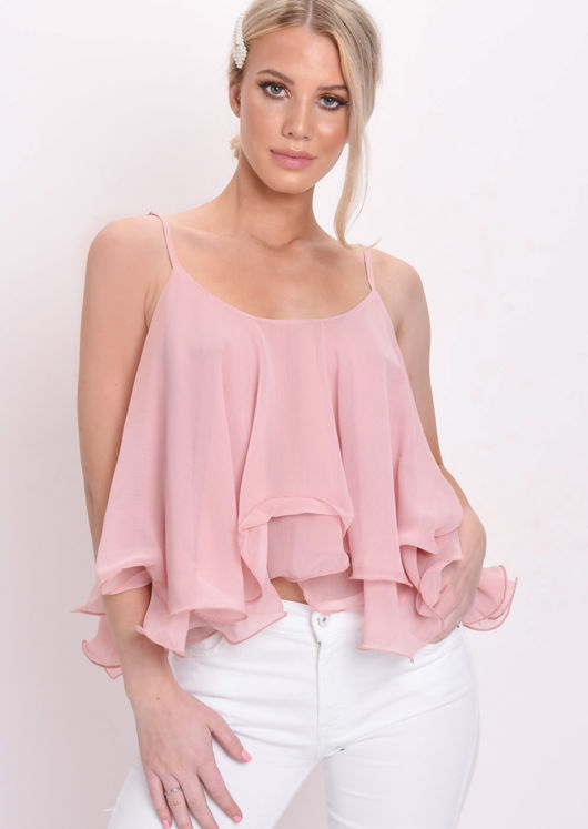 Wire Hem Crop Blouse Top Pink
