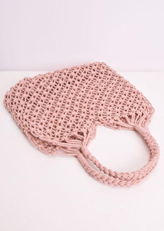 Woven Macramé Tote Bag Pink