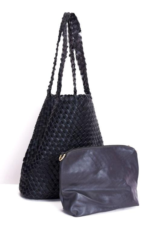 Woven Reversible Tote Shoulder Bag Black