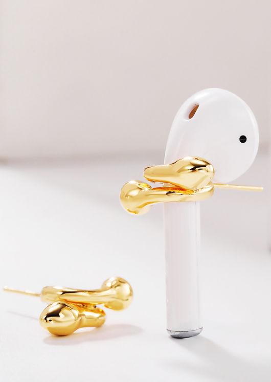 Wrap Around Air Pod Support Alloy Studded Earring Gold