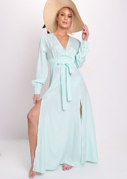 Wrap Front Belted Split Maxi Beach Dress Mint Green