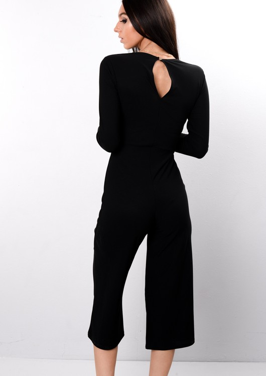 Wrap Front Cropped Jumpsuit Black