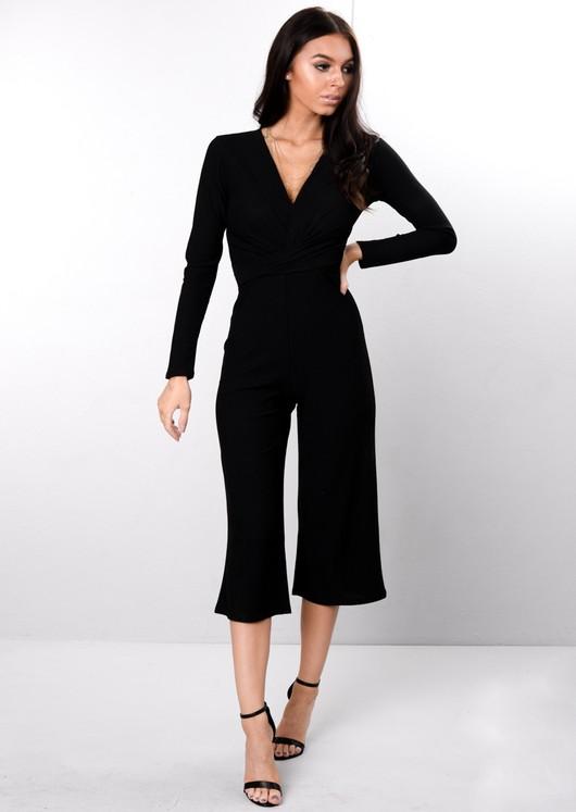 Wrap Front Cropped Jumpsuit Black