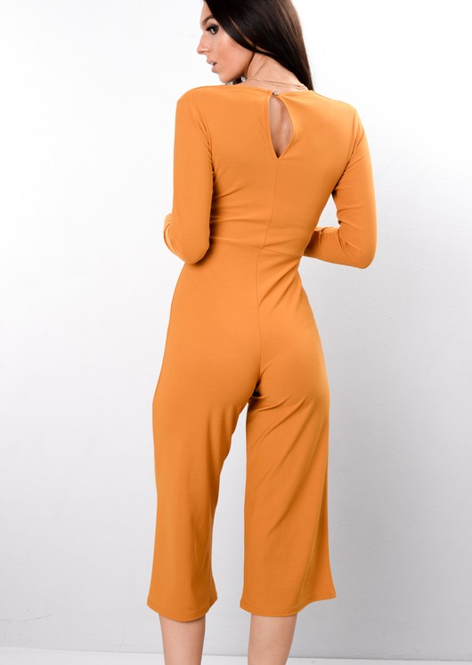Wrap Front Cropped Jumpsuit Mustard Yellow