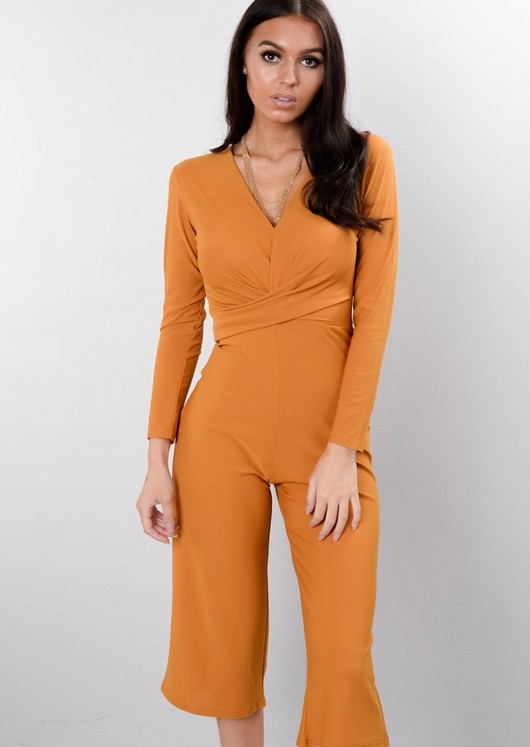Wrap Front Cropped Palazzo Jumpsuit Mustard Yellow