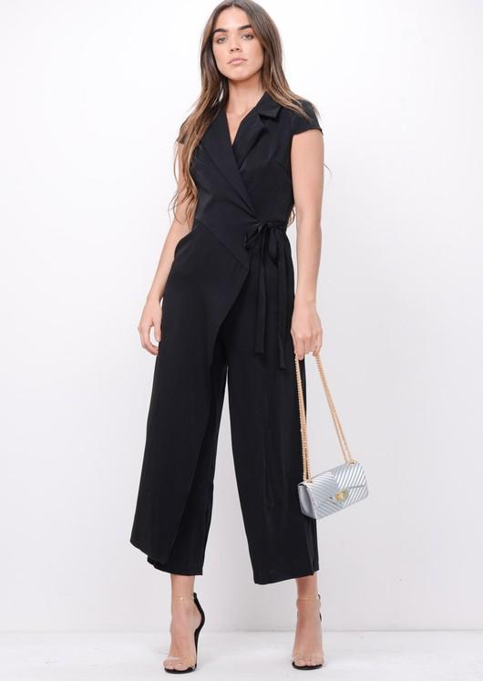 Wrap Front Tie Waist Jumpsuit Black