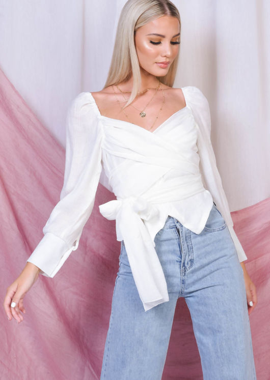 Wrap Over Button Front Shirt Top White