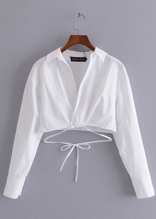 Wrap Over Collared Long Sleeve Shirt Crop Top White