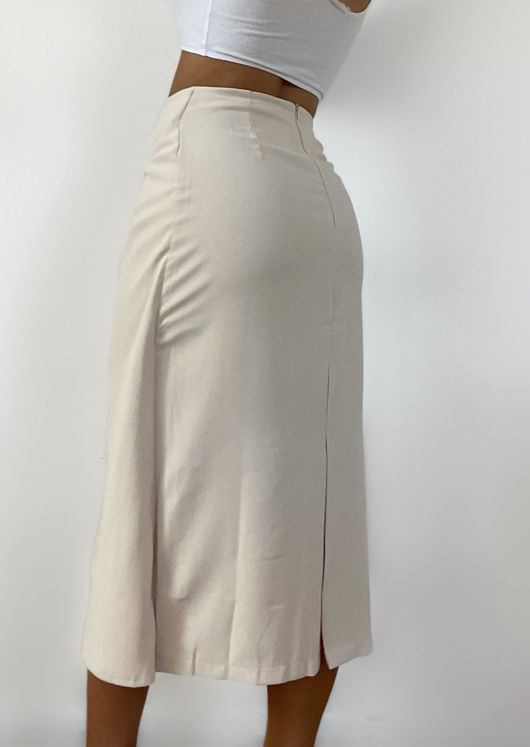 Wrap Over Twist Front Detailed Midi Skirt Beige