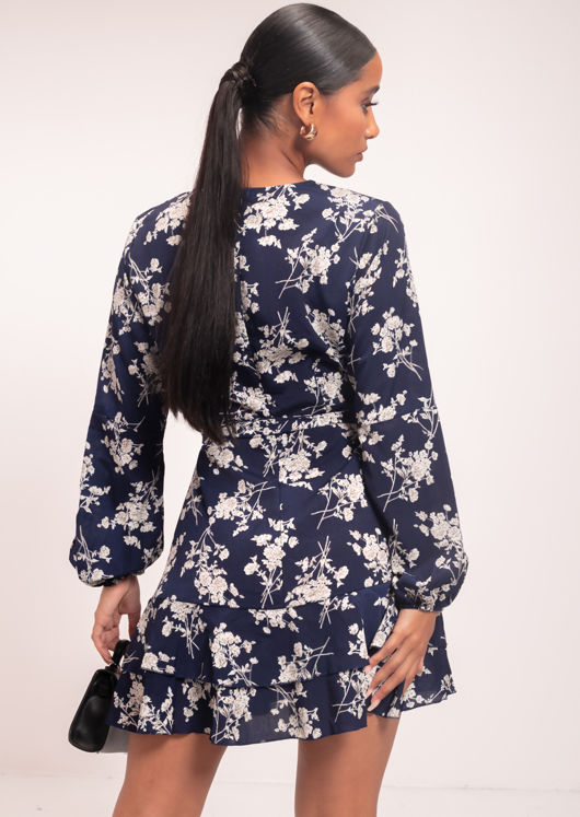 Floral Wrap Over Plunge Neck Frill Tiered Mini Dress Blue