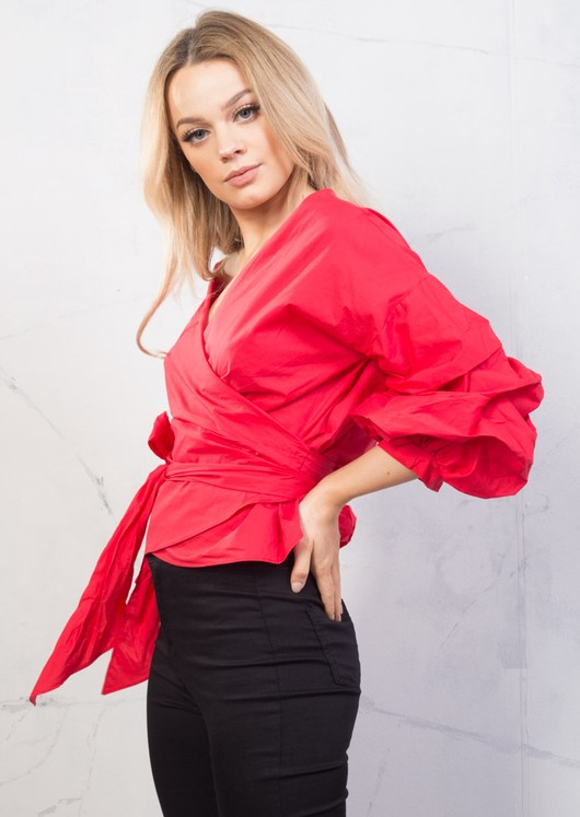 Wrap Over Puff Sleeve Crop Bow Tie Shirt Cotton Top Red