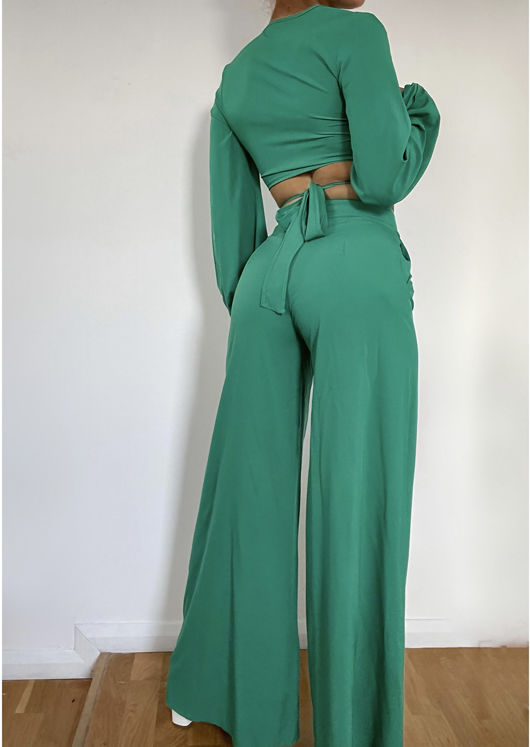 Wrap Over Sleeved Crop Top And High Waisted Flare Pants Co-Ord Set Green