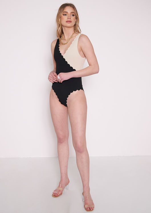 Wrap Over Sleeveless Body Trimmed Swimsuit Multi