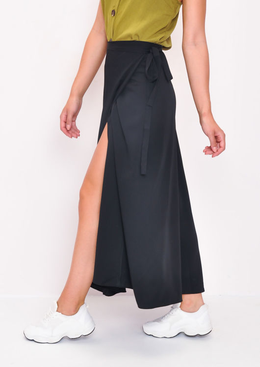 Wrap Thigh Split Midi Skirt Black