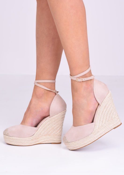 Faux Suede Lace Up Espadrille Wedge Sandals Beige